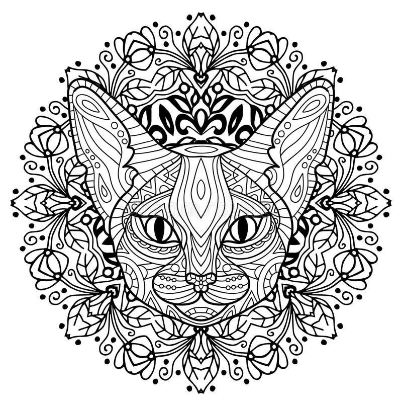 Livro para colorir para adultos A cabeça de um gato misterioso com um teste padrão circular Mola do gato ilustração do vetor