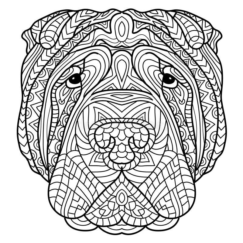 Livro para colorir para adultos Livro do cão A cabeça de um cão Sharpay com teste padrão tribal ilustração stock