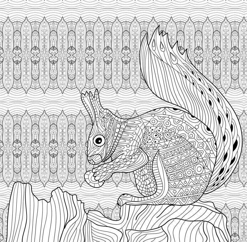 Livro para colorir para adultos O esquilo senta-se em um coto de árvore Linha arte ilustração royalty free