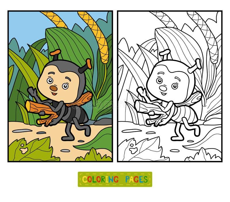 Livro para colorir para crianças Formiga pequena no prado ilustração do vetor