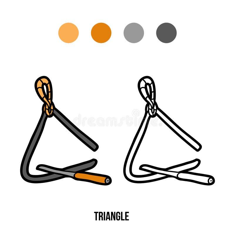 Livro para colorir para crianças: instrumentos de música (triângulo) ilustração do vetor
