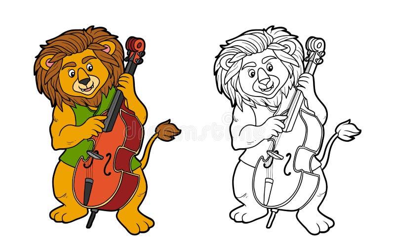 Livro para colorir para crianças: leão e violoncelo ilustração stock