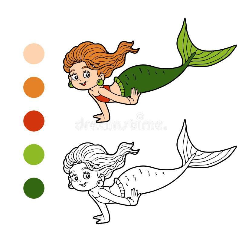 Livro para colorir para crianças (sereia da menina) ilustração stock