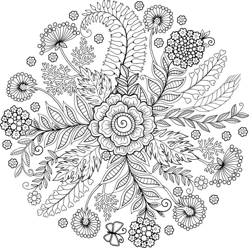 Livro para colorir para o adulto Fundo abstrato da garatuja feito das flores e da borboleta ilustração royalty free