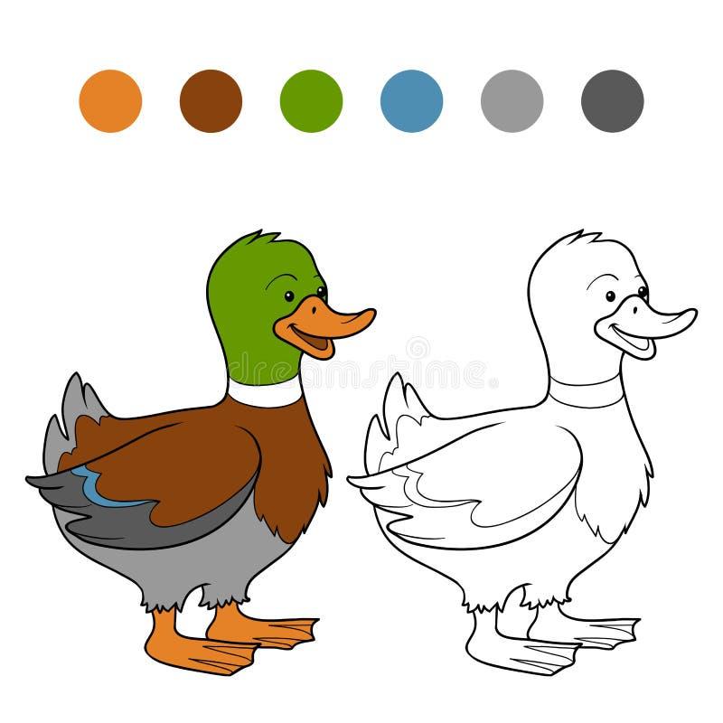 Livro para colorir (pato) ilustração stock