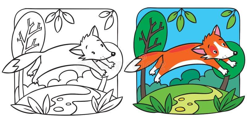 Livro para colorir pequeno da raposa vermelha ilustração stock