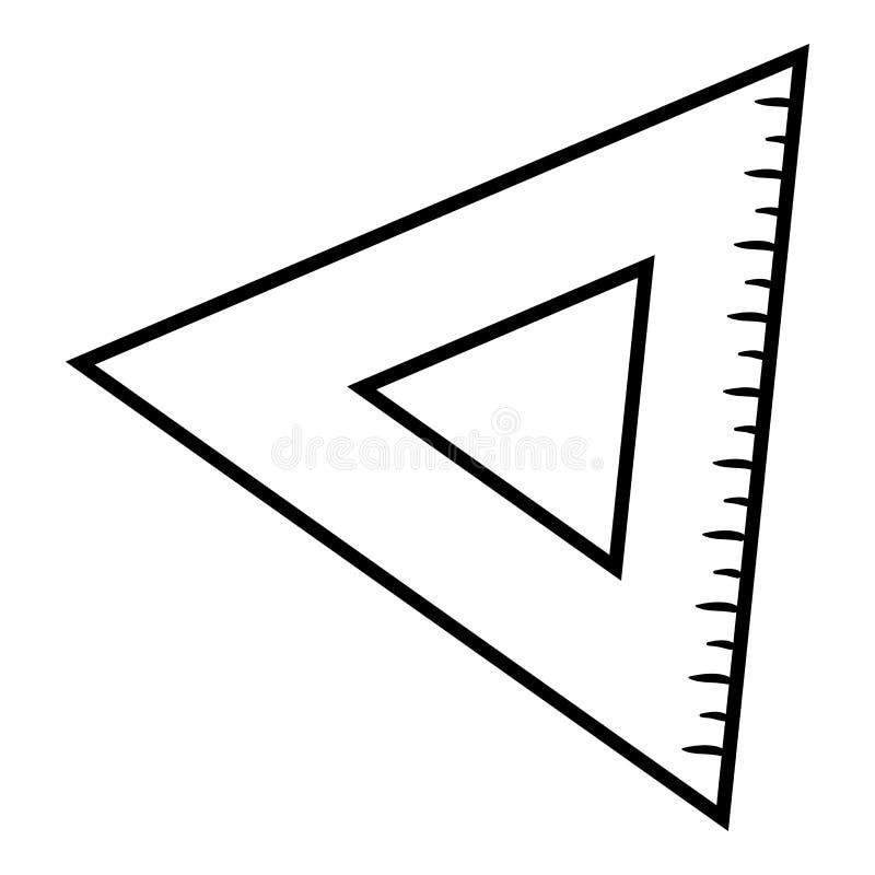 Livro para colorir, régua do triângulo ilustração do vetor
