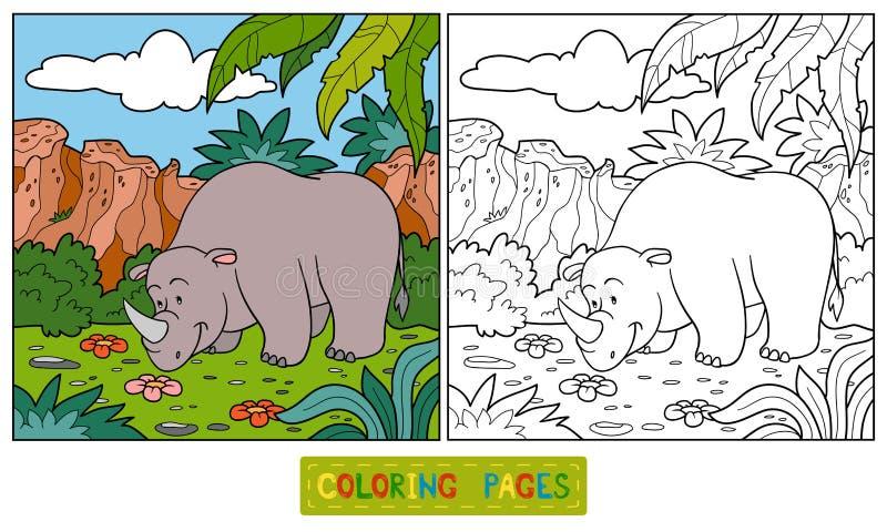 Livro para colorir (rinoceronte) ilustração stock