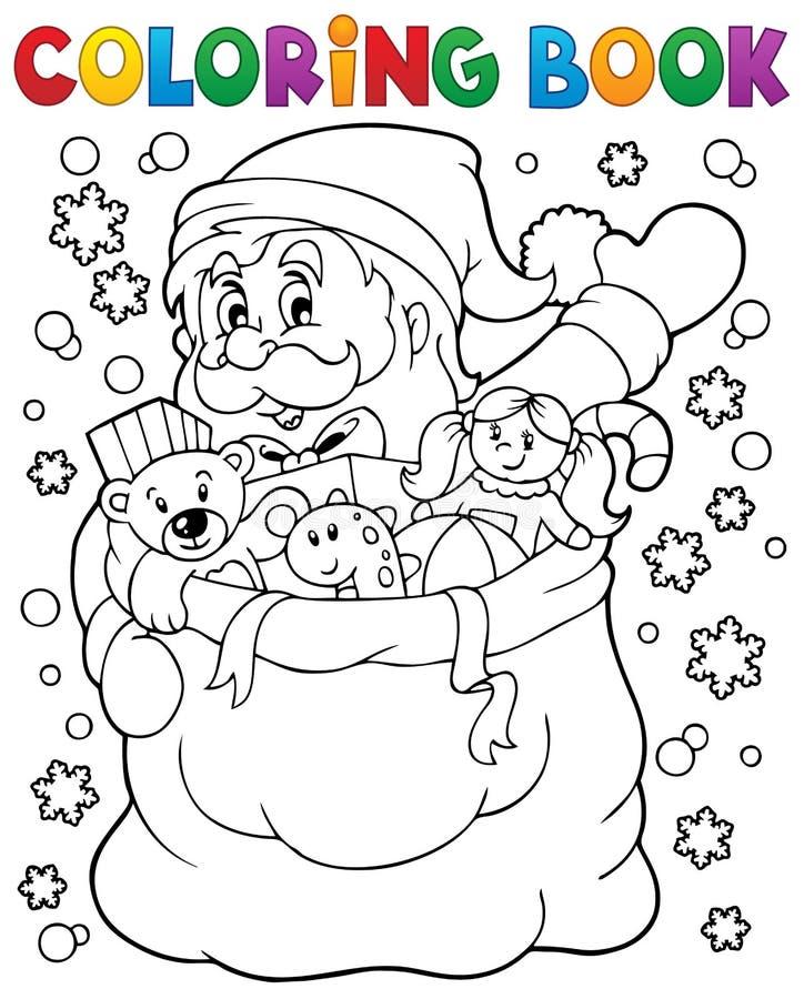 Livro para colorir Santa Claus na neve 4 ilustração royalty free