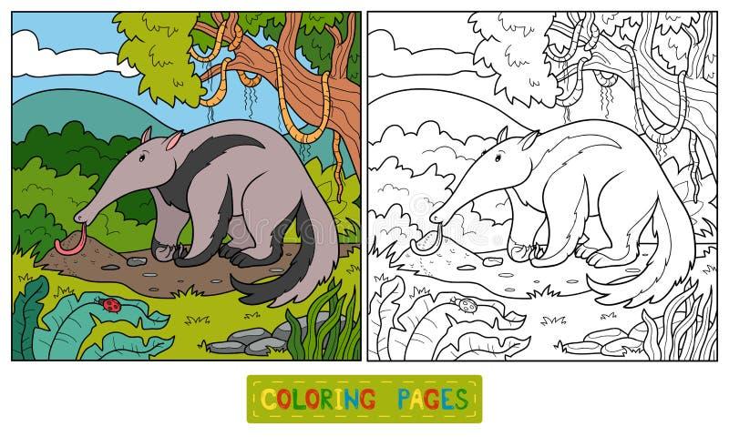 Livro para colorir (tamanduá) ilustração royalty free