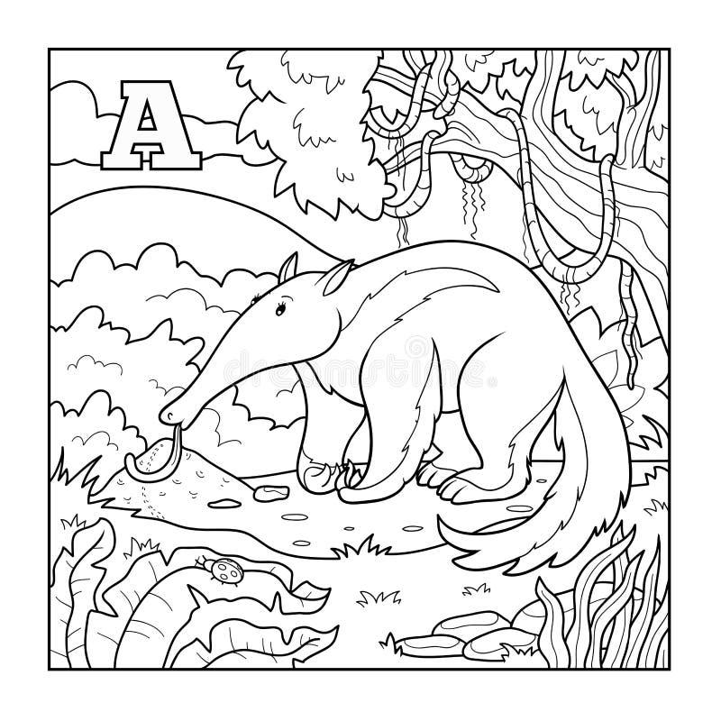 Livro para colorir (tamanduá), ilustração incolor (letra A) ilustração do vetor