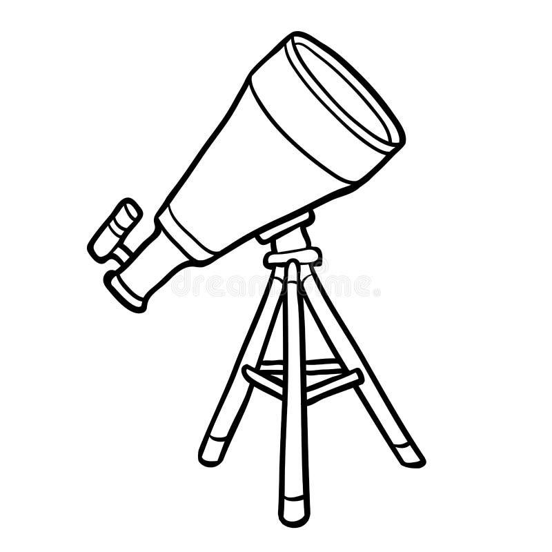 Livro para colorir, telescópio ilustração do vetor