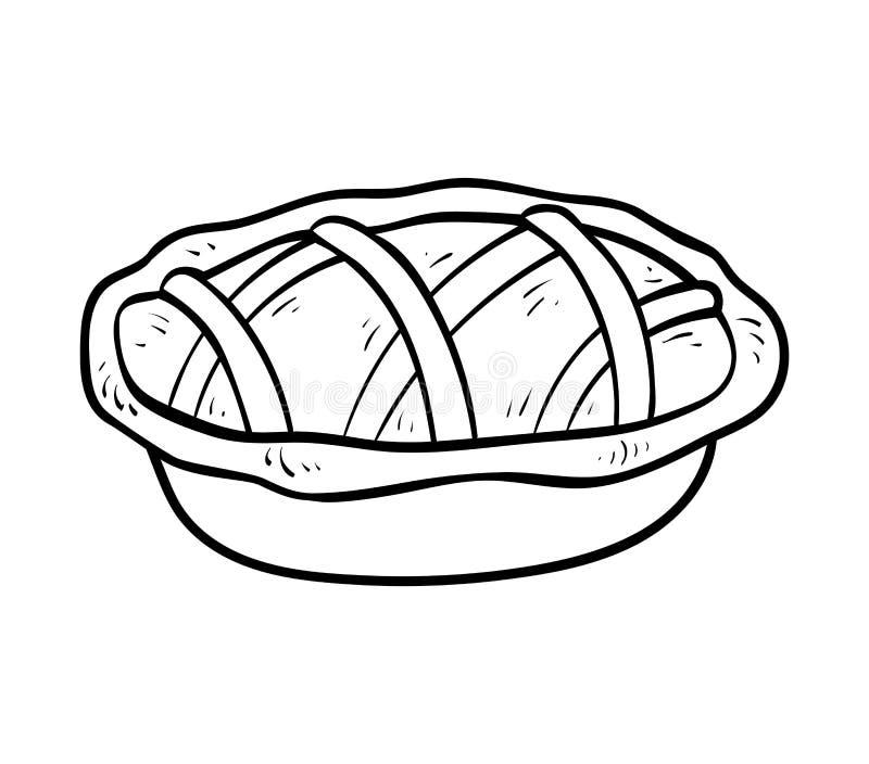 Livro para colorir, torta ilustração do vetor