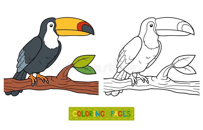 Livro para colorir (tucano) ilustração do vetor
