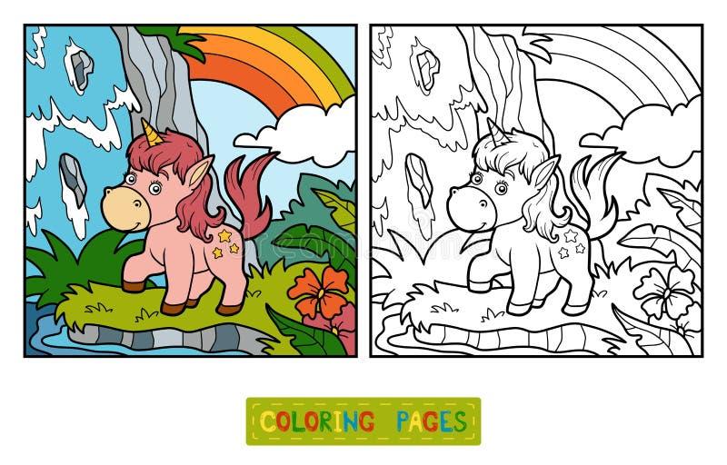 Livro para colorir, unicórnio feericamente e arco-íris ilustração do vetor