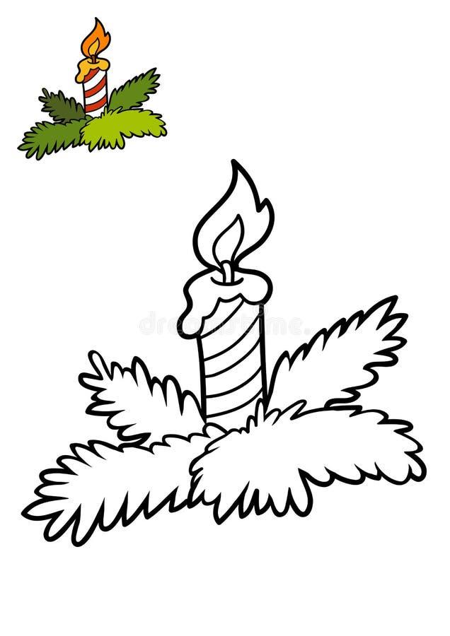 Livro para colorir, vela do Natal ilustração royalty free