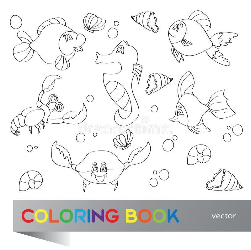 Livro para colorir - vida marinha ilustração royalty free