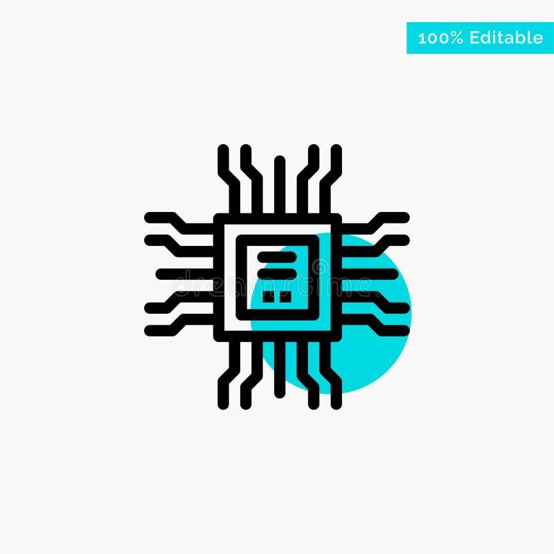 Livro, processador central, aprendendo, ícone do vetor do ponto do círculo do destaque de turquesa da tecnologia ilustração do vetor