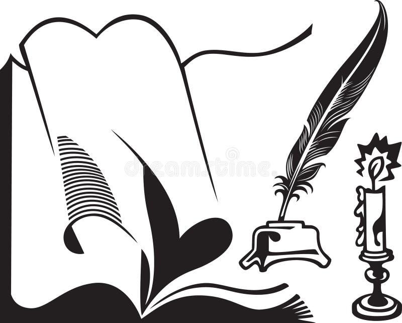 Livro, quill e vela abertos ilustração do vetor