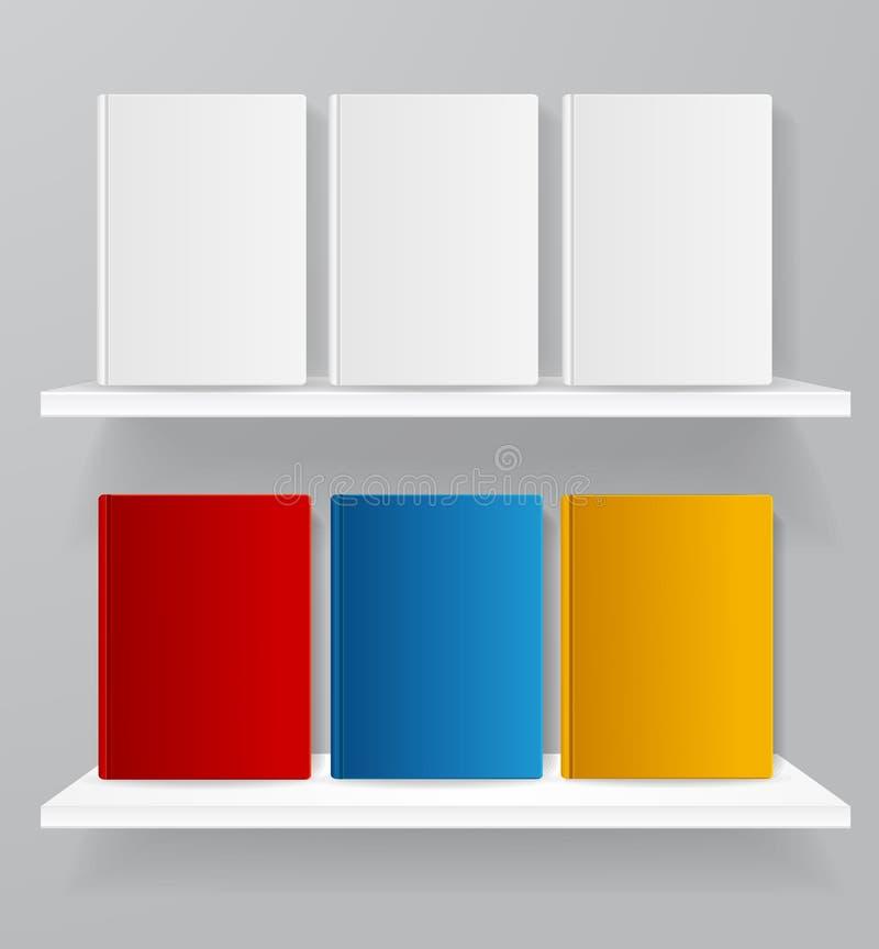 Livro vazio de 3d detalhado realístico branco e da cor do molde em prateleiras para o grupo da loja Vetor ilustração do vetor