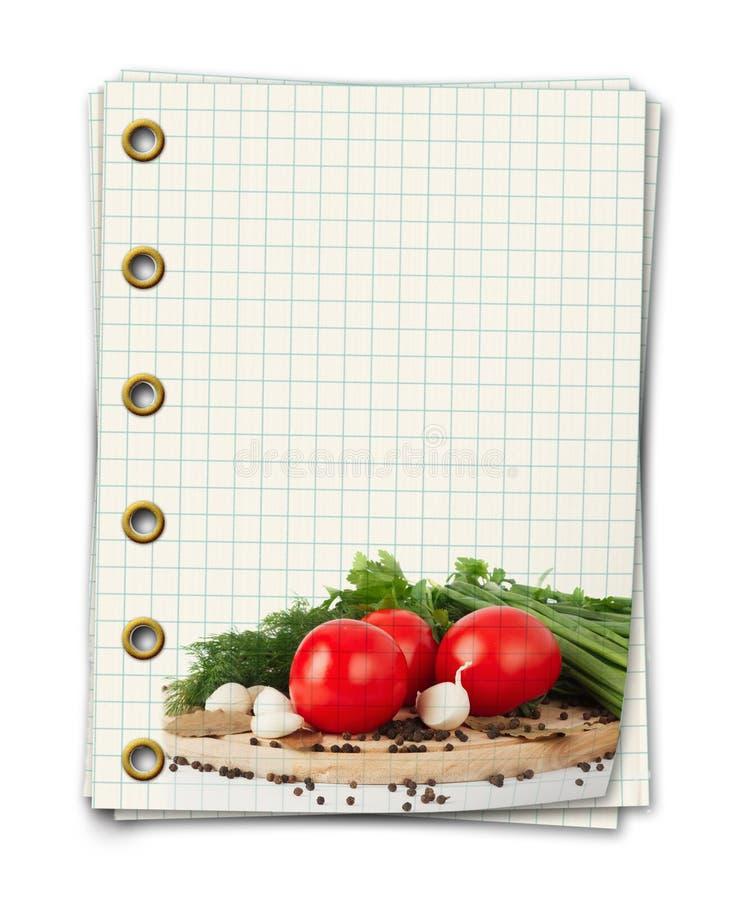 Livro vazio velho da receita com a foto do tomate fotos de stock
