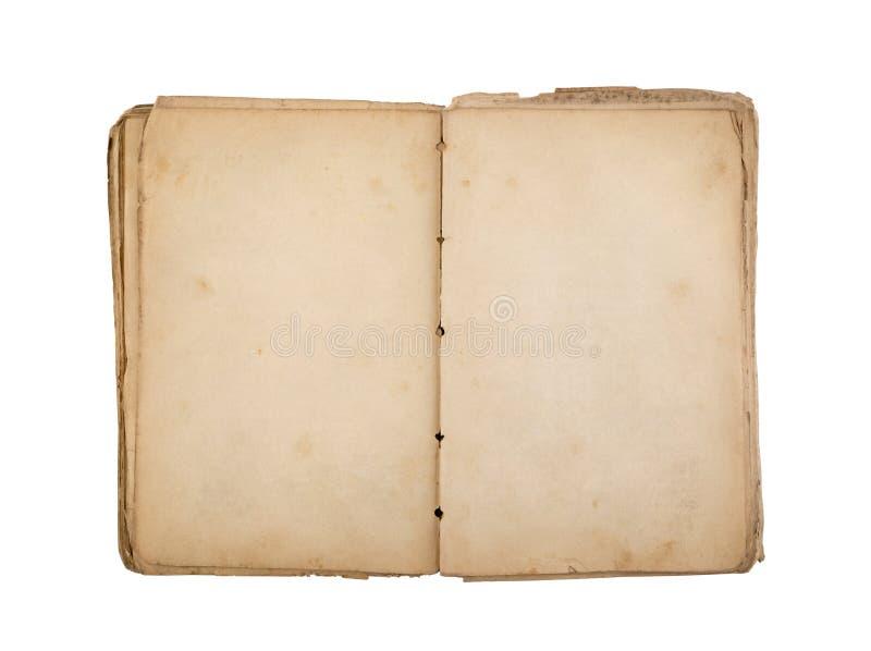 Livro velho aberto com as páginas manchadas amarelas da placa isoladas no fundo branco fotos de stock royalty free