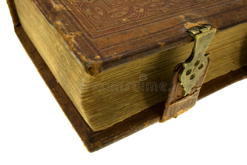 Livro velho com fechamento fotografia de stock