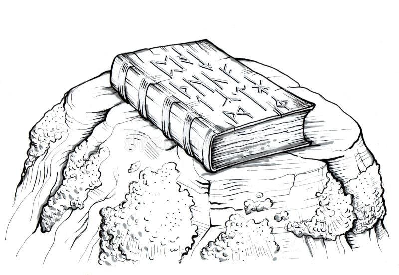 Livro velho com símbolos antigos em sua tampa Posição do livro em uma rocha velha ilustração royalty free