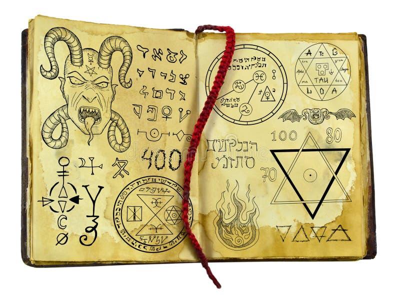 Livro velho da bruxa com o demônio, a fantasia e símbolos místicos isolados no branco ilustração royalty free