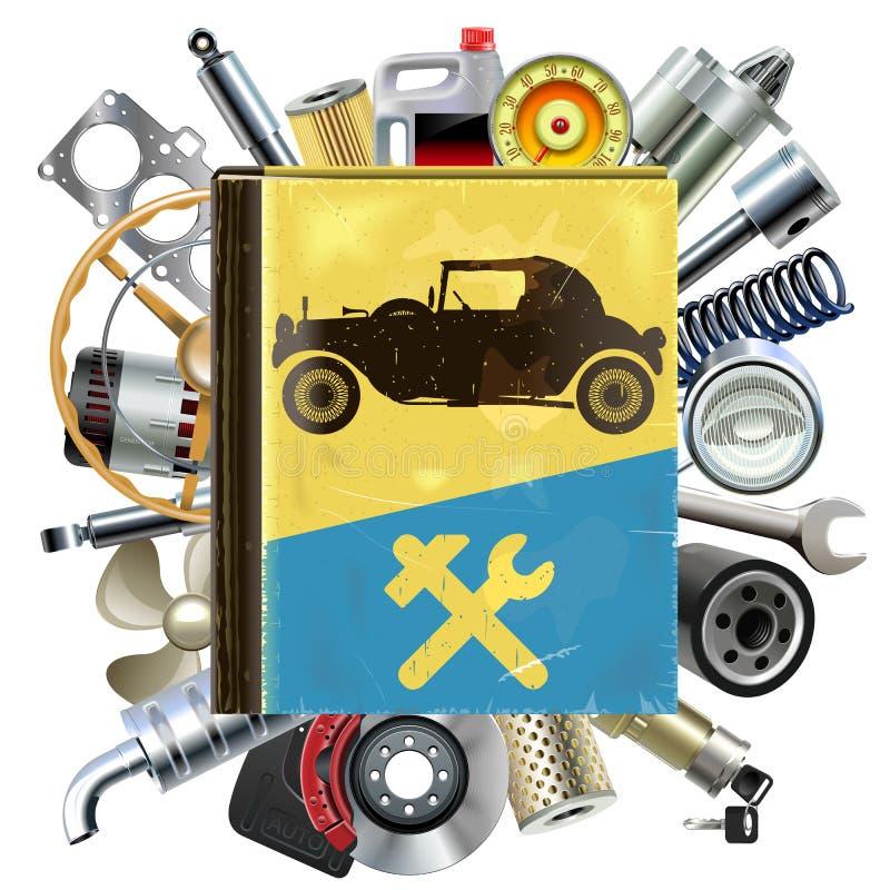 Livro velho do reparo do automóvel do vetor com sobressalentes do carro ilustração royalty free