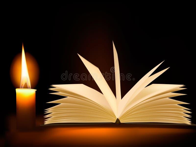 Livro velho e uma vela. Vetor. ilustração stock