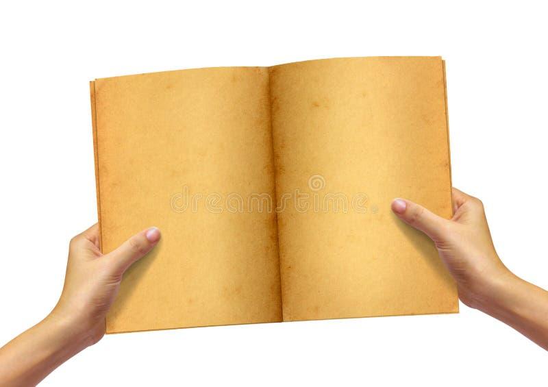 Livro velho na mão da mulher fotografia de stock royalty free