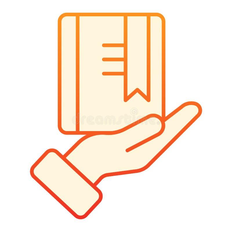 Livro vermelho com ?cone liso do marcador Ícones alaranjados do conhecimento no estilo liso na moda Livro no projeto do estilo do ilustração do vetor
