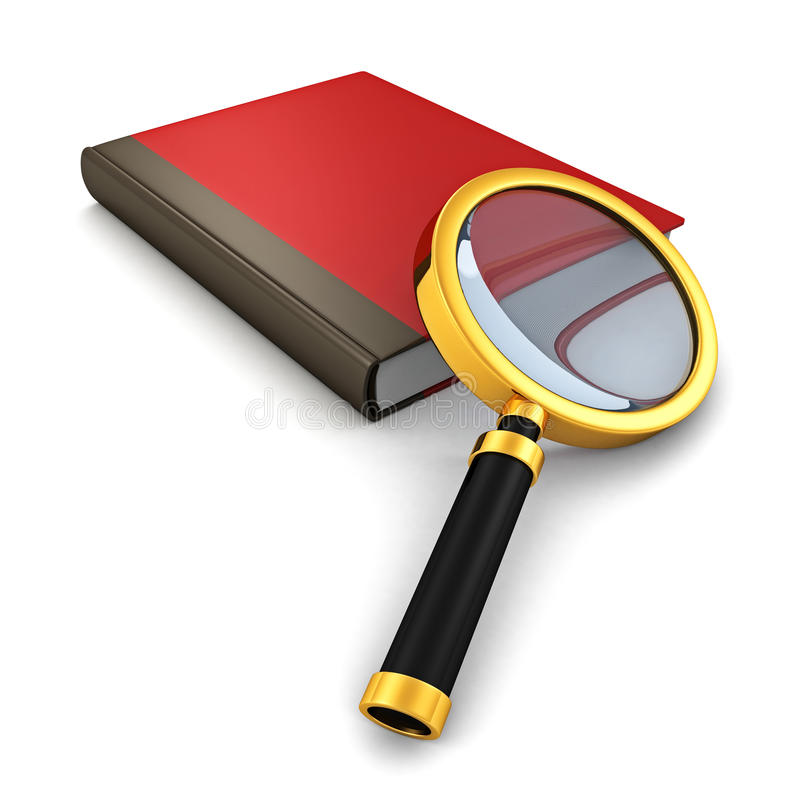 Livro vermelho com a lupa no fundo branco ilustração do vetor