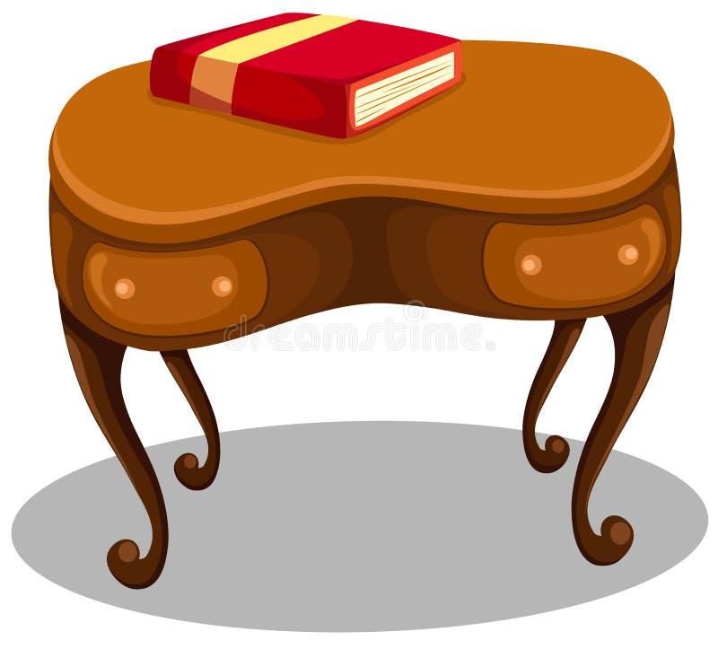 Livro vermelho na mesa ilustração do vetor