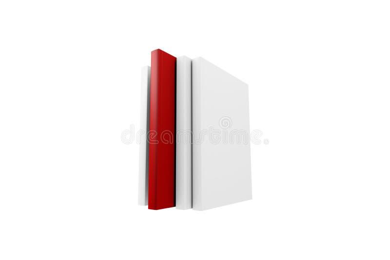 Livro vermelho que está para fora entre a placa branca foto de stock
