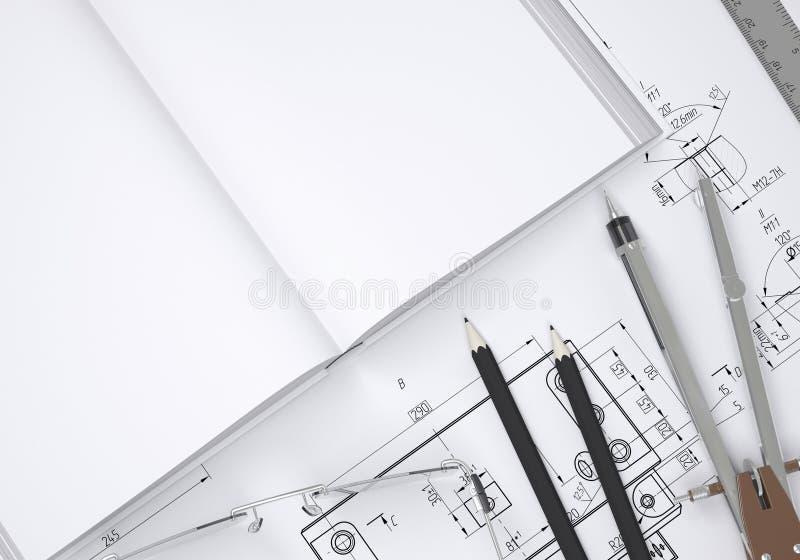 Livro, vidros, régua, compasso e lápis ilustração royalty free