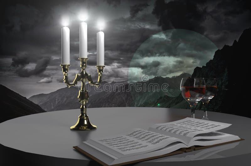 Livro, vinho e velas fotos de stock royalty free