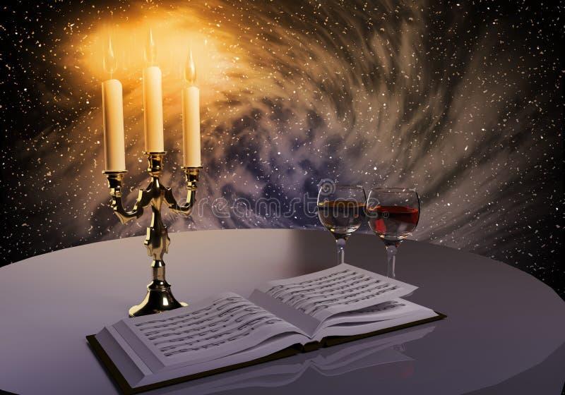 Livro, vinho e velas foto de stock royalty free