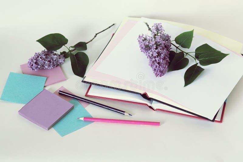 Livros abertos, papel, lápis, ramos de flores lilás na tabela fotografia de stock