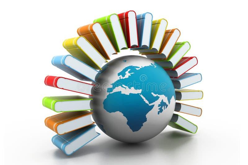 Livros coloridos com mundo ilustração do vetor