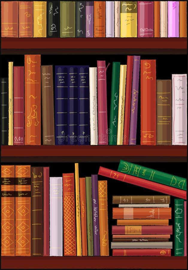 Livros coloridos em prateleiras, illutration do vetor ilustração stock
