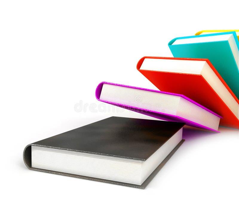 Livros coloridos no branco imagem de stock royalty free