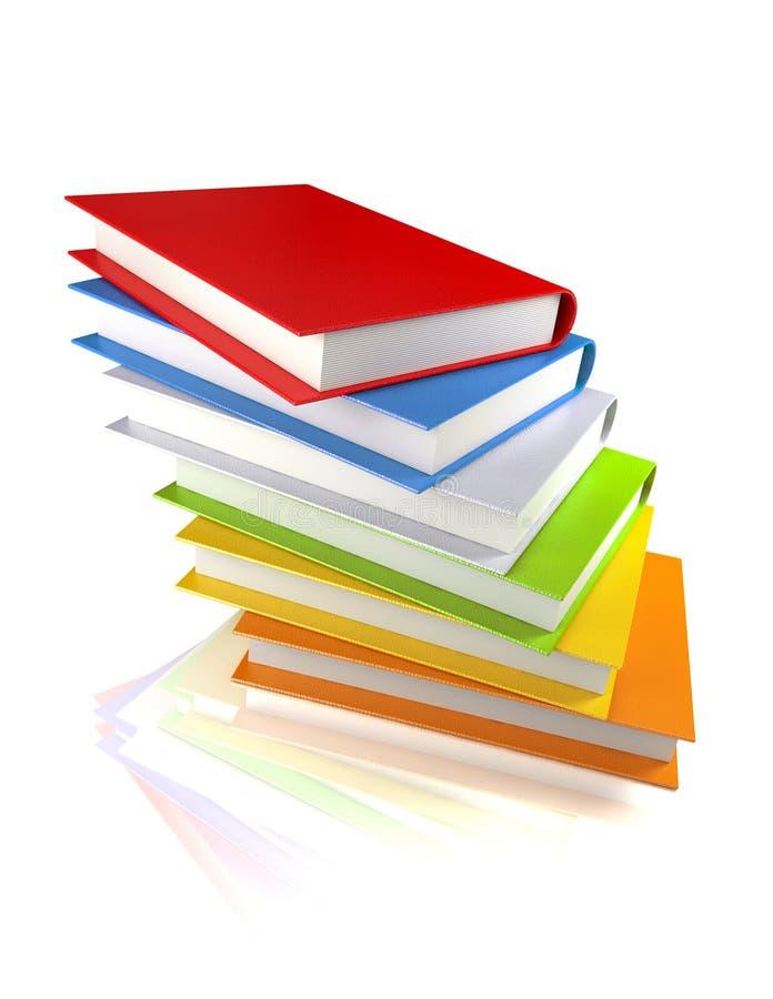Livros coloridos no branco lustroso foto de stock royalty free