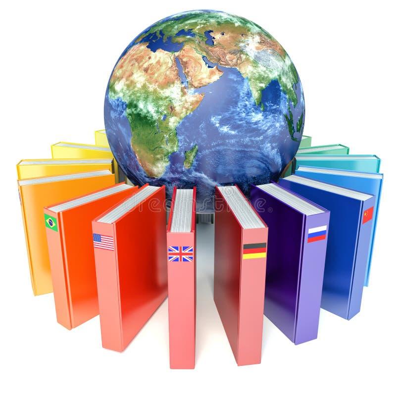 Livros com as bandeiras dos países da terra Ensino eletrónico ilustração royalty free