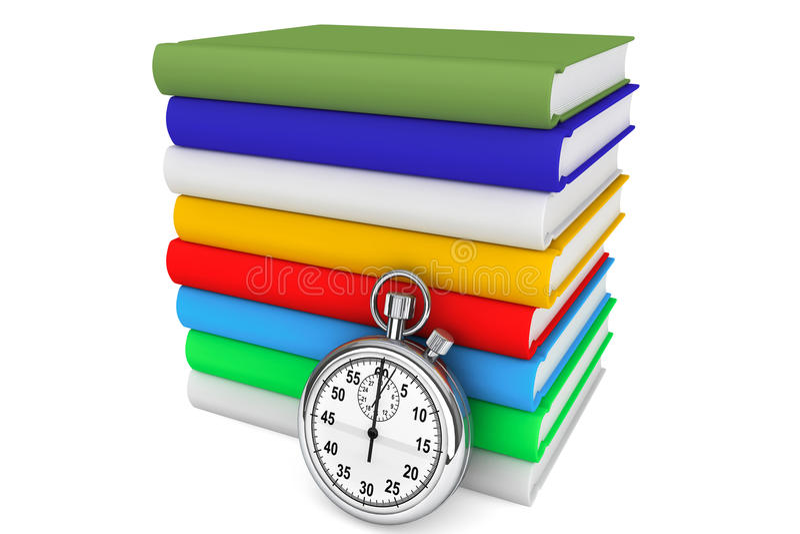 Livros com cronômetro ilustração stock