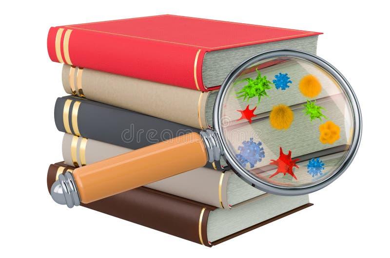 Livros com germes e bacterias sob a lupa rendi??o 3d ilustração royalty free