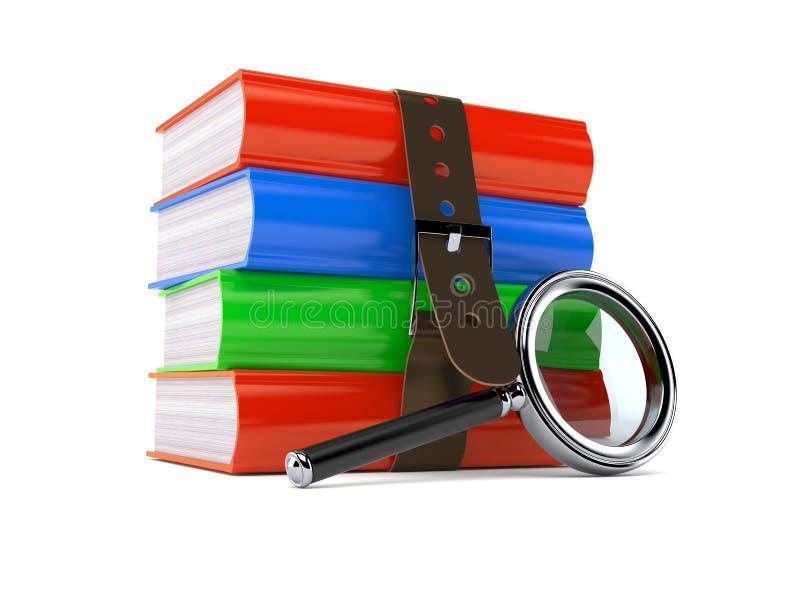 Livros com lupa ilustração do vetor