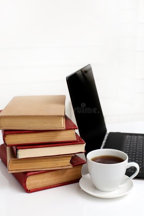Livros com portátil fotografia de stock