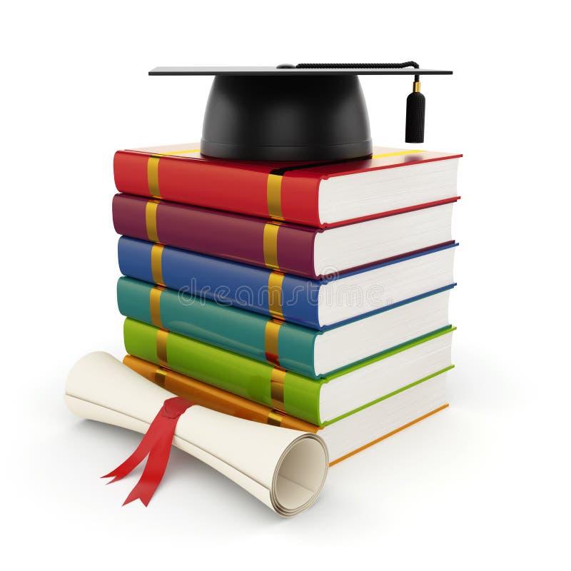 Livros com tampão da graduação ilustração royalty free